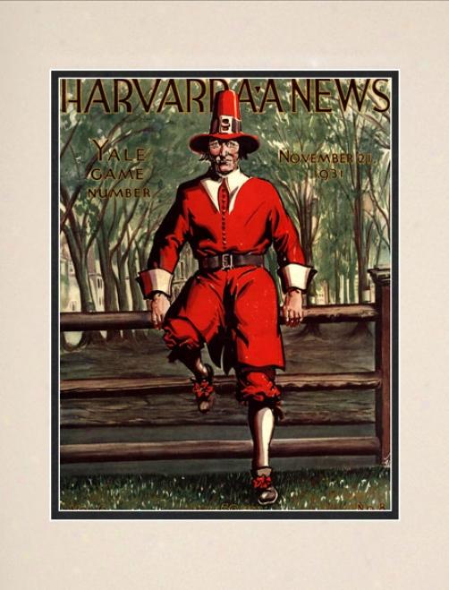 1931 Harvard Crimson Vs. Yale Bulldogs 10.5x14 Matted Historic Football Print