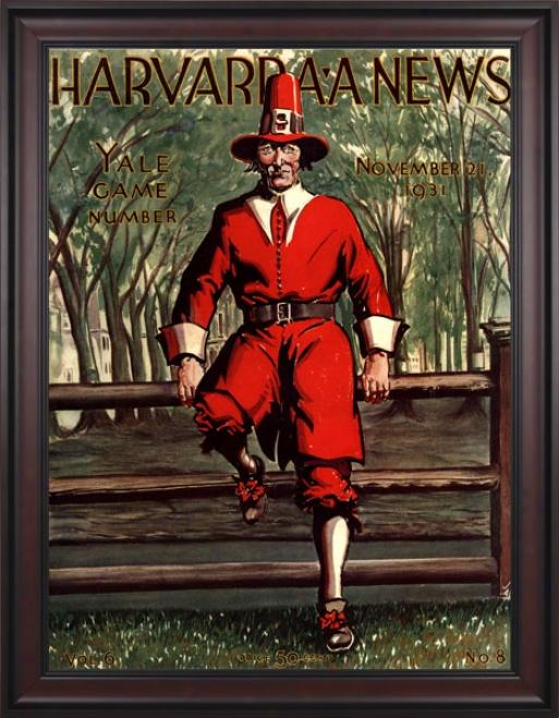 1931 Harvard Crimson Vs. Yale Bulldogs 36 X 48 Framed Canvas Historic Football Print