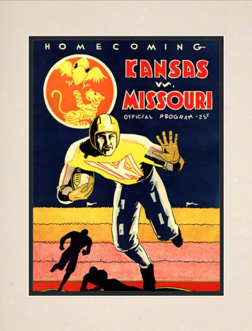 1931 Kansas Vs. Miss0uri 10.5x14 Matted Historic Football Print