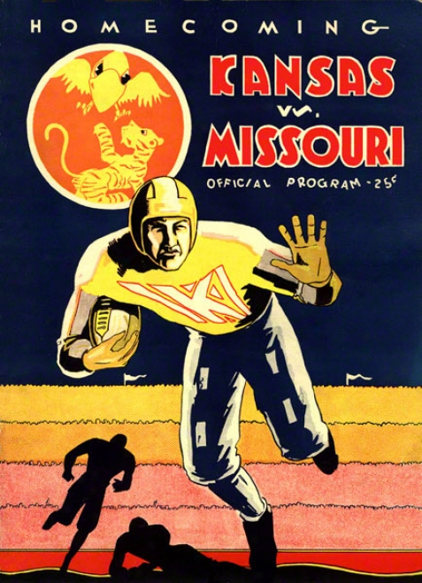1931 Kansas Vs. Missouri 36 X 48 Canvas Hlstoric Football Impress