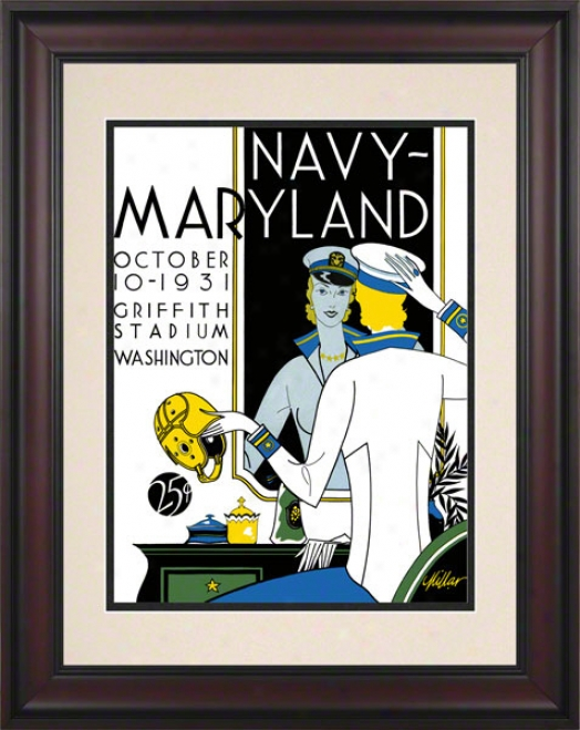 1931 Maryland Vs. Navy 10.5x14 Frwmed Historic Football Print