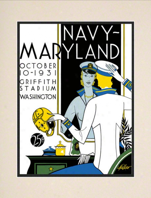 1931 Maryland Vs. Navy 10.5x14 Matted Historic Football Print