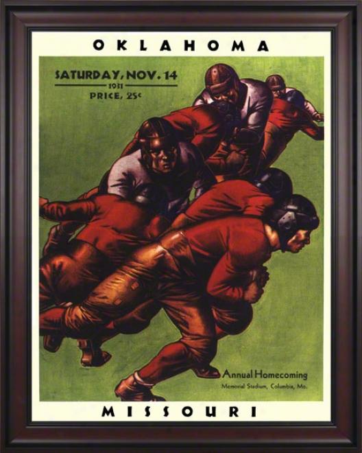 1931 Missouri Vs Oklahoma 36 X 48 Framed Canvas Historic Football Print