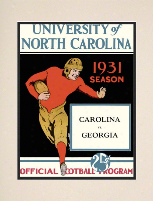 1931 North Carolina Vs. Georgia 10.5x14 Matted Histooric Football Calico