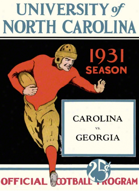 1931 North Carolina Vs. Georgia 22 X 30 Canvs Historic Football Print