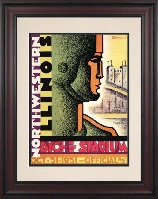 1931 Northwestern Vs. Illinois 10.5x14 Framed Historic Football Print