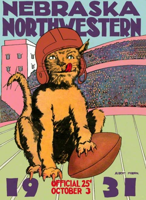 1931 Northwestern Vs. Nebraska 36 X 48 Canvas Historic Football Print