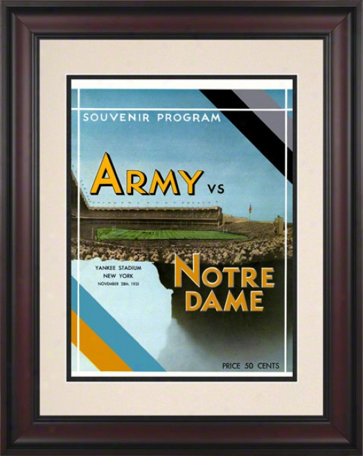 1931 Notre Dame Fighting Irish Vs Army Black Knights 10 1/2 X 14 Framed Historic Football Poster