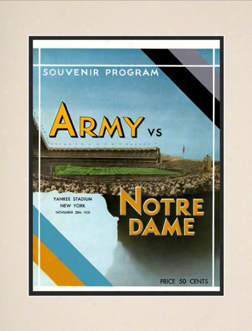 1931 Notre Dame Fighting Irish Vs Army Black Knights 10 1/2 X 14 Matted Historic Football Poster