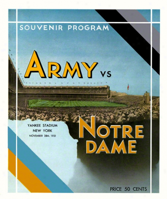 1931 Notre Mistress Fighting Irish Vs Army Black Knights 36 X 48 Canvas Historic Football Poster