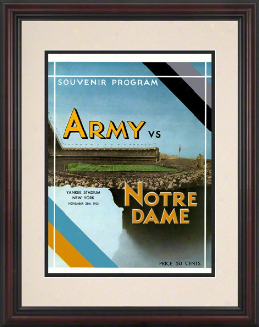 1931 Notre Dame Contention Irish Vs Army Black Knights 8.5 X 11 Framed Historic Football Posteer