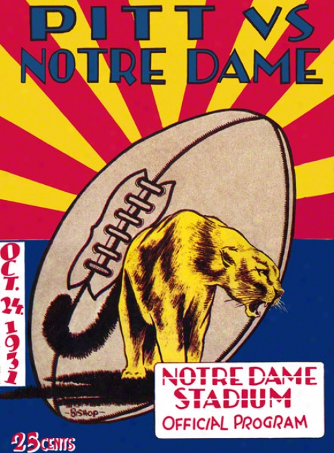 1931 Notre Dame Fighting Irish Vs Pittsburgh Panthers 22 X 30 Canvas Historic Football oPster