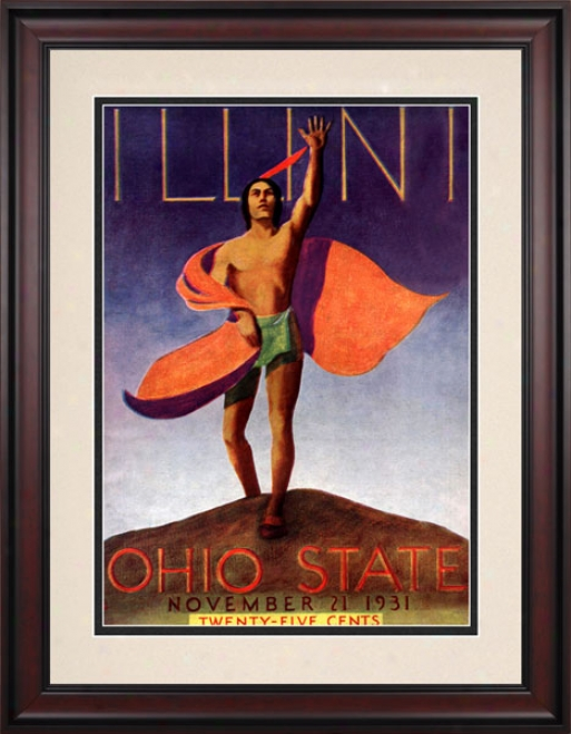 1931 Ohio Pomp Buckeyes Vs. Illinois Fighting Illini 10.5x14 Framed Historic Football Print