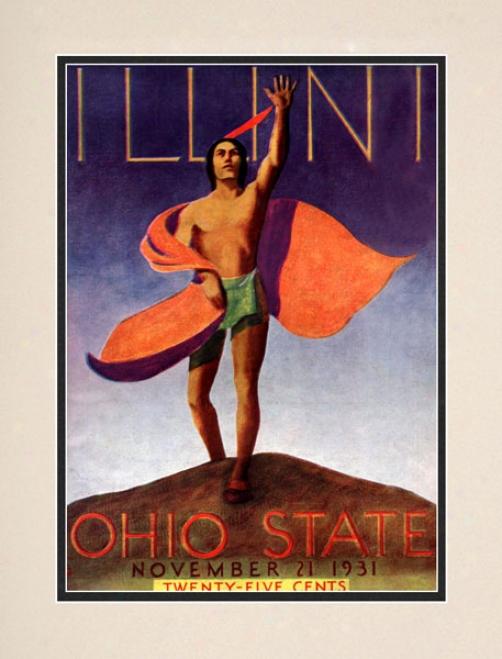 1931 Ohio State Buckeyes Vs. Illinois Fighting Illini 10.5x14 Matted Historic Football Print