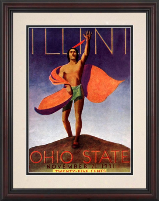 1931 Ohio State Buckeyes Vs._Illinois Fighting Illini 8.5 X 11 Framed Historic Football Print