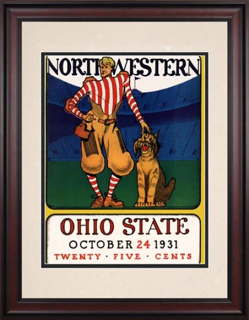 1931 Ohio State Buckeyes Vs. Northwestern Wildcats 10.5x14 Framed HistoricF ootball rPint