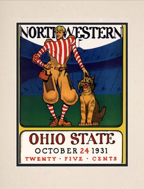 1931 Ohio State Buckeyes Vs. Northwestern Wildcats 10.5x14 Matted Historic Football Print