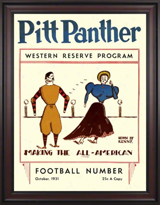 1931 Pitt Vs. Western Reserve 36 X 48 Framed Canvas Historic Football Print