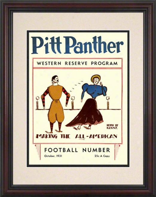 1931 Pitt Vs. Western Reserve 8.5 X 11 Framed Historic Football Print