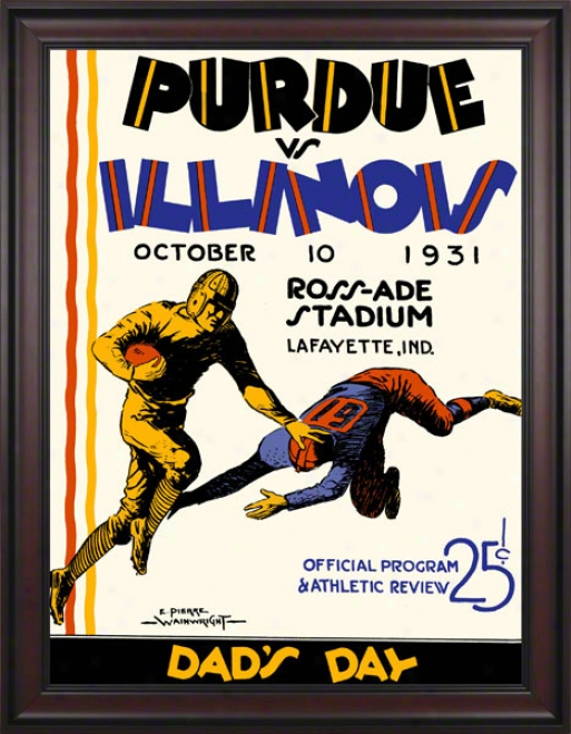 1931 Purdue Vs. Illinois 36 X 48 Framed Canvas Historic Football Print
