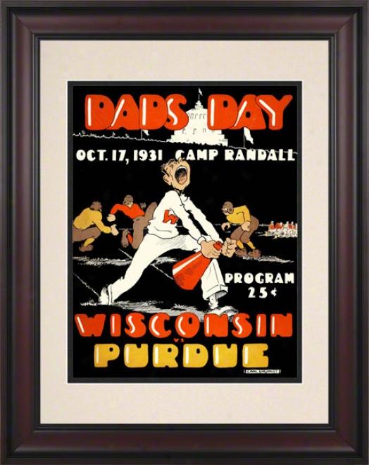 1931 Wisconsin Vs. Purdue 10.5x14 Framed Historic Football Print
