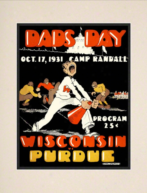 1931 Wisconsin Vs. Purdue 10.5x14 Matted Historic Football Print