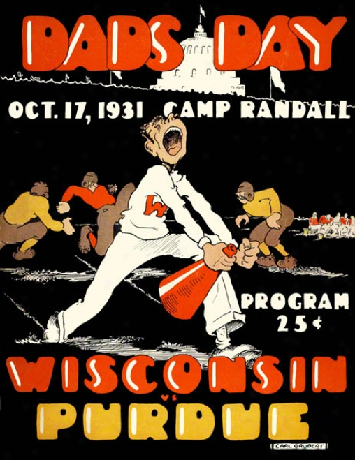 1931 Wisconsin Vs. Purdue 22 X 30 Canvas Historic Football Print