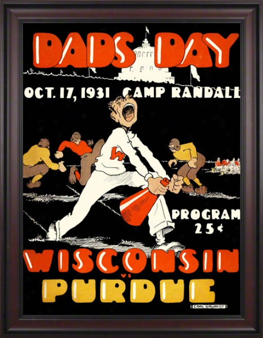 1931 Wisconsin Vs. Purdue 36 X 48 Framed Canvas Historic Football Print