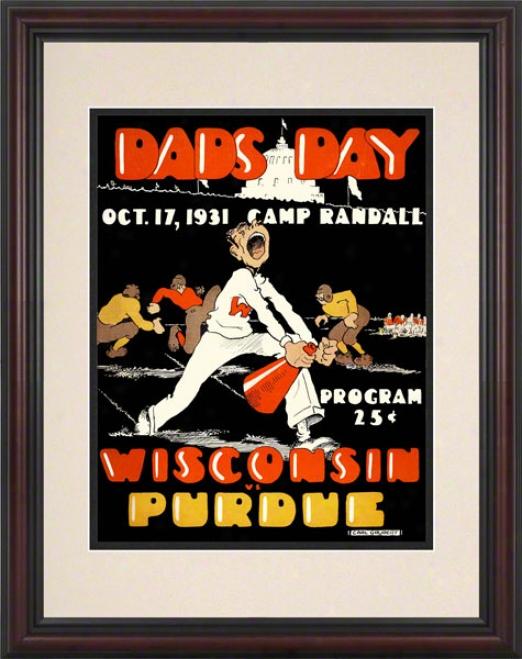1931 Wisconsin Vs. Purdue 8.5 X 11 Framed Histooric Football Print