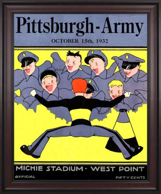 1932 Army Vs. Pitt 36 X 48 Framed Canvas Historic Football Print