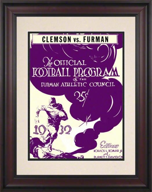 1932 Furman Vs. Clemson 10.5x14 Framed Historic Football Print
