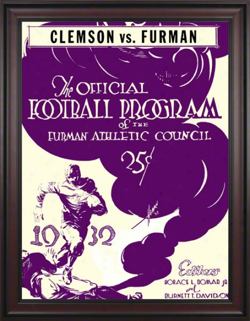 1932 Fumran Vs. Clemson 36 X 49 Framed Canvas Historic Football Print