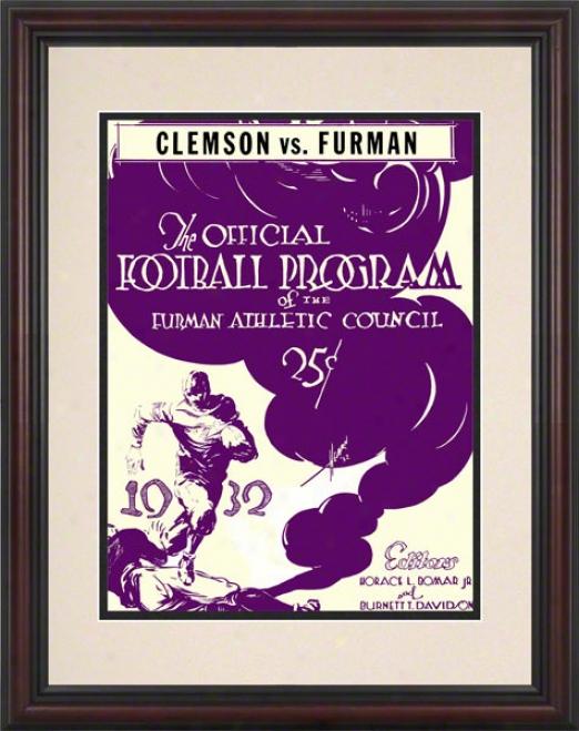 1932 Furman Vs. Clemson 8.5 X 11 Framed Historic Football Print