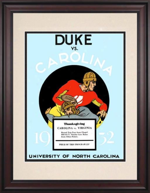 1932 North Carolina Tar Heels Vs. Duke Blue Devils 10.5x14 Framed Historic Football Print