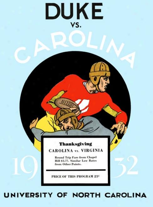 1932 North Carolina Tar Heels Vs. Duke Azure Devils 36 X 48 Canvas Historic Football Print