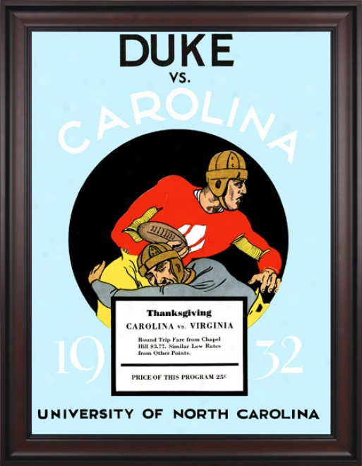1932 North Carolina Tar Heels Vs. Duke Blue Devils 36 X 48 Framed Canvas Historic Football Print