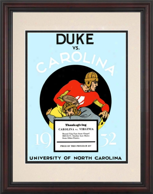 1932 North Carolina Tar Heels Vs. Duke Blue Devils 8.5 X 11 Framed Historic Football Print