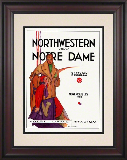 1932 Notre Dame Fighting Irish Vs Northwestern Wildcats 10 1/2 X 14 Framed Historic Football Poster