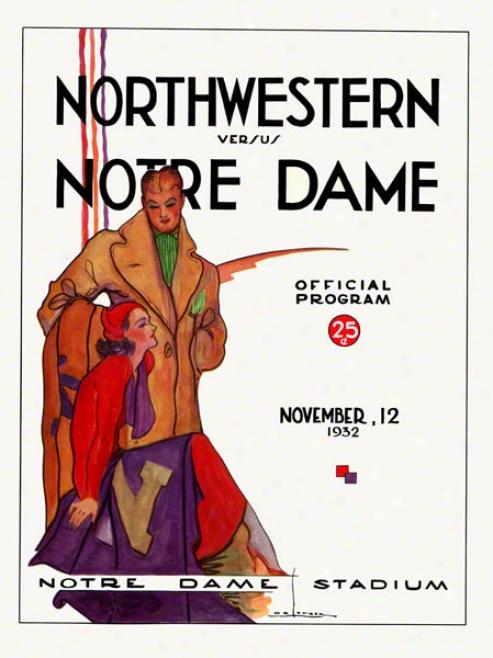 1932 Notre Dame Fighting Irish Vs Northwestern Wilddcats 22 X 30 Canvas Historic Football Poster