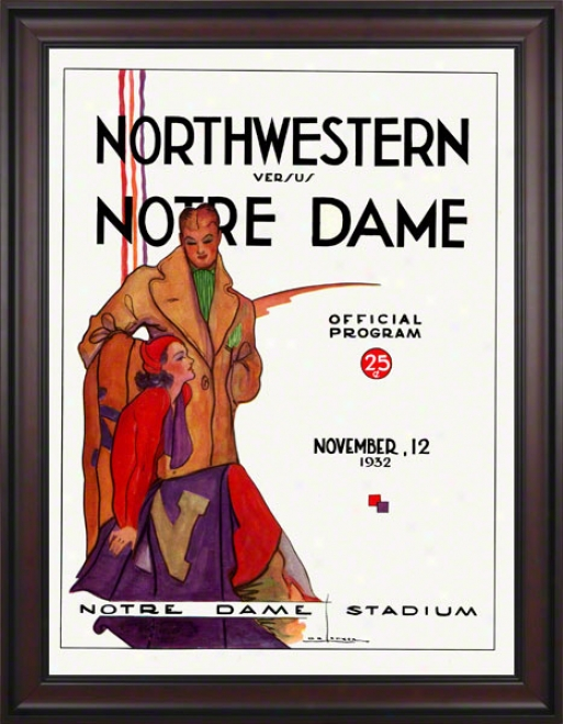 1932 Notre Dame Fighting Irish Vs Northwestern Wildcats 36 X 48 Framed Canvas Historic Football Poster