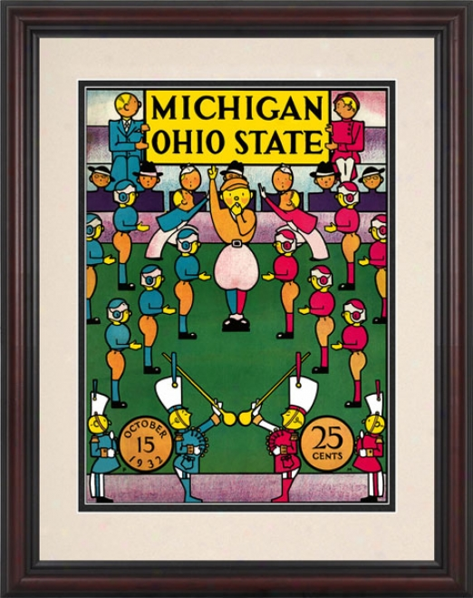 1932 Ohio State Buckeye sVs. Michigan Wolverines 8.5 X 11 Framed Historic Football Print