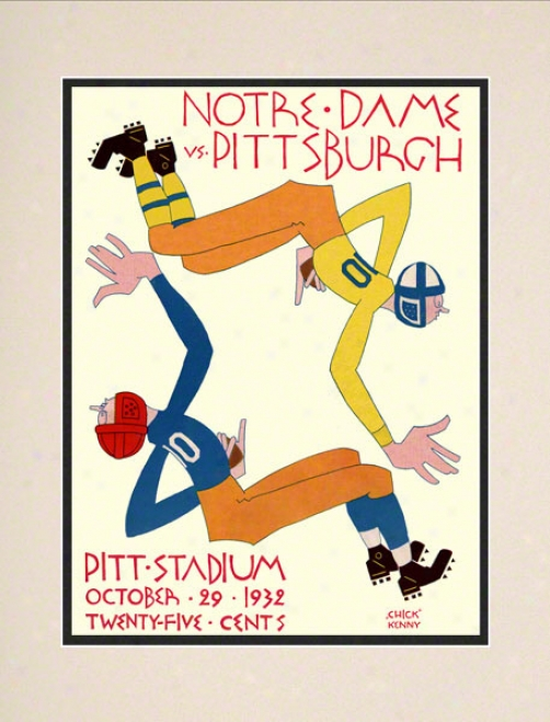 1932 Pittsburhg Panthers Vs Notre Dame Contention Irish 10 1/2 X 14 Matted Historic Football Poster