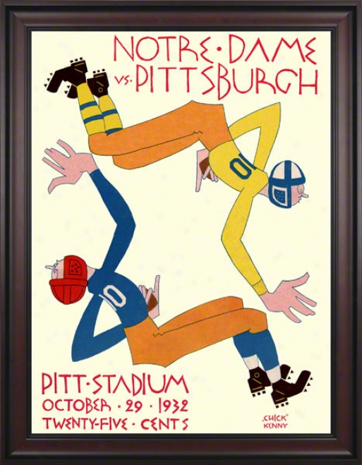 1932 Pittsburgh Panthers Vs Notre Dame Fighting Irish 36 X 48 Framed Canvas Historic Football Poster