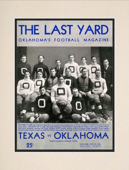 1932 Texas Vs Oklahoma 10.5x14 Matted Historic Football Print