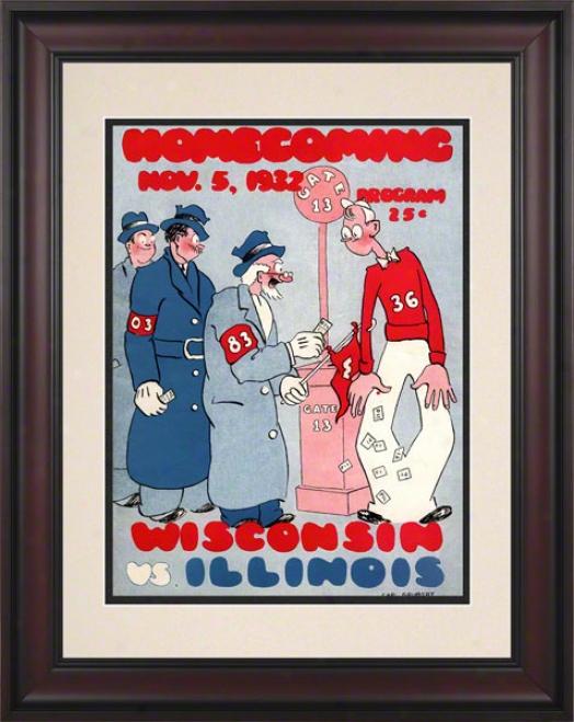 1932 Wisconsin Vs. Illinois 10.5x14 Framed Historic Football Print