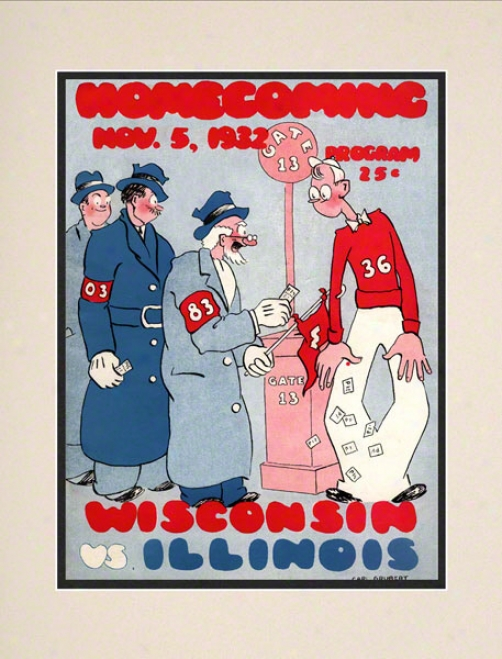 1932 Wisconsin Vs. Illunois 10.5x14 Matted Historic Football Print