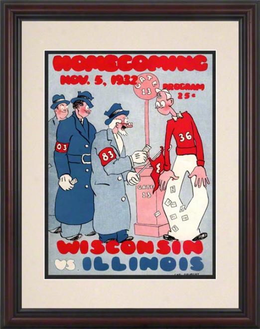 1932 Wisconsin Vs. Illinois 8.5 X 11 Framed Historic Football Mark