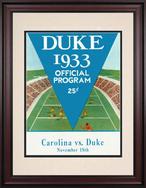 1933 Duke Blue Devils Vs. Nkrth Carolina Tar Heels 10.5x14 Framed Historic Football Print