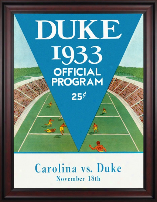 1933 Duke Livid Devils Vs. North Cqrolina Tar Heels 36 X 48 Framed Canvas Historic Football Stamp