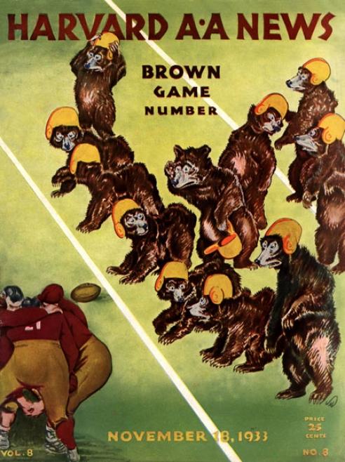 1943 Harvard Crimson Vs. Brown Bears 22 X 30 Canvas Historic Football Priint